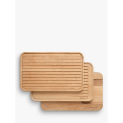 Brabantia Beech Wood Chopping & Serving Boards, Set of 3, L40cm, Natural