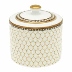 Halcyon Days - Gordon Castle Antler Trellis Covered Sugar Bowl - Ivory