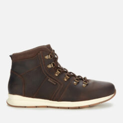 Barbour Men's Mills Leather Hiking Style Boots - Dark Brown - UK 10