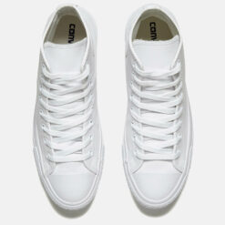 Converse Chuck Taylor All Star Leather Hi-Top Trainers - White Monochrome - UK 10