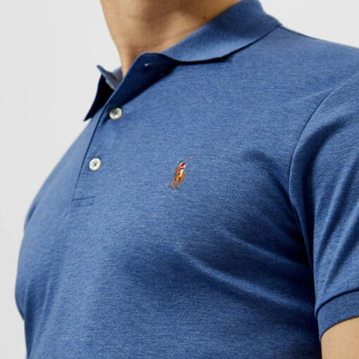Polo Ralph Lauren Men's Slim Fit Soft Touch Polo Shirt - Faded Royal Heather - L - Blue