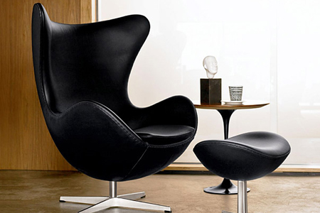 Black-Egg chair and-stool by Arne Jacobsen