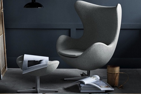 Grey-wool-Egg chair by Arne Jacobsen