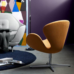 Swan chair in wool fabric by Arne Jacobsen for Fritz Hansen
