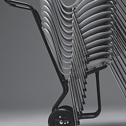 Trolly with stackable Seven Series chairs by Arne Jacobsen